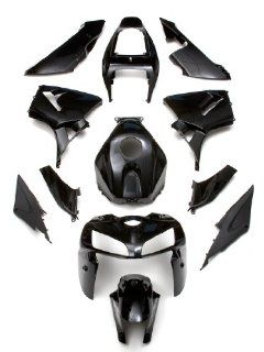 LPUSA Body Doubles Complete Fairing Kit Honda CBR600RR 2005 2006 Black   12 piece Automotive