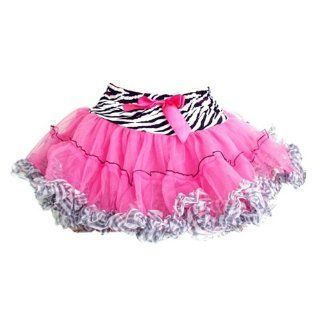 Hot Pink Zebra Tutu With Ruffles And Bow SK679S Size Small [Toy] Toys & Games