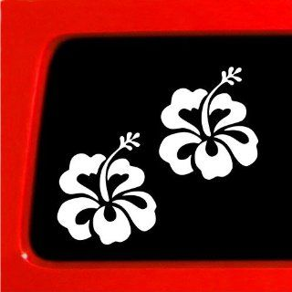 Hibiscus Flower White set Hawaii hawaiian tropical island 808 car truck notebook bumper sticker vinyl decal window Automotive