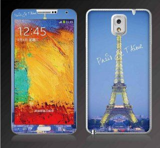 Blue Background Eiffel in Paris Full Body Decal Fashionable Screen Protector Skin Sticker Front and Back for Samsung Galaxy Note 3 III N9000 N9006 with Batman style back pin 2.3 inch badge Cell Phones & Accessories