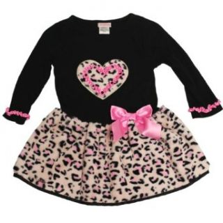 Youngland Girls 4 6X Leopard Faux Fur Heart Bow Dress (4, Pink) Clothing