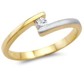Solid 14k Two Tone Gold Solitaire Engagement Wedding CZ Cubic Zirconia Ring Round Cut 0.15 ct Jewelry