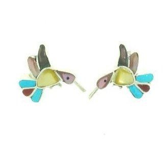 By Zuni Artist India Comsona Beautiful Sterling silver Hummingbird Earrings Jewelry