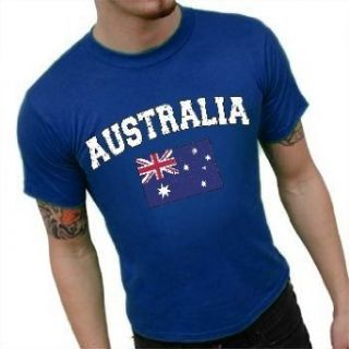 Australia Vintage Flag International Mens T shirt #1200 (Mens Small, Royal Blue) Clothing