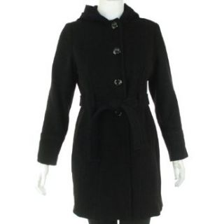 AK Anne Klein Wool Hooded Coat Black XL Outerwear