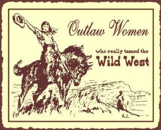 Outlaw Women Vintage Metal Art Rustic Horse Western Cowgirl Retro Tin Sign   Decorative Signs