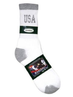 1 Pair Mens Crew Sports Socks Grey Heel & Toe with USA Logo, Size 10   13 inch Clothing