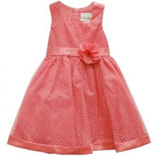 Rare Editions Girls 2T 4T Flock Dot Dress With Rosette Sash (2T, Pink) Special Occasion Dresses Clothing