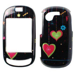 Green Star Blue Flower Pink Heart Ornament Design Black Snap on Hard Cover Protector Faceplate Cell Phone Case for T Mobile Samsung Gravity T Touch SGH T669 + Premium LCD Screen Guard Film Cell Phones & Accessories