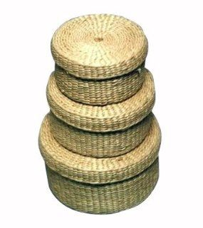 Household Essentials ML 5393 Woven Rush Round Baskets with Lids, Set of 3   Home Storage Baskets