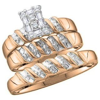 0.15 Carat (ctw) 10k Yellow Gold Round Diamond Men & Ladies Trio Set Jewelry