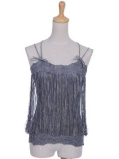Anna Kaci S/M Fit Bow Trim Loose Knit Fringe Look Cross Back Tank Top