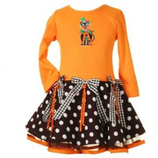 Rare Editions Toddler Girls 2T 4T ORANGE BLACK 'Black Cat' RIBBONS DOTS Halloween Theme Dress   2T Special Occasion Dresses Clothing