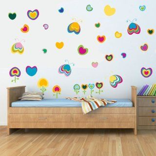 SlapArt SA239922 hearts and butterflies Peel and Stick vinyl stickers wall art graphics decal   Wall Decor Stickers