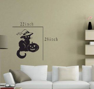 Large  Easy instant decoration wall sticker wall mural halloween home decal costumes bat howl angel black blood bone boo candy cat crown fall witch spider web prince pumpkin scarecrow ghost house RIP FL705   Nursery Wall Decor