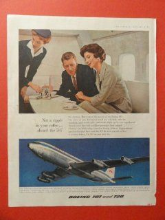 Boeing 707 And 720, 1959 print advertisement (man, woman, relaxing.) original vintage magazine Print Art.
