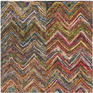 Safavieh NAN141B Nantucket Collection Handmade Cotton Square Area Rug, 4 Feet, Blue and Multicolored