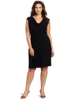 Jessica Howard Women's Plus Size Rouched Cowl Neck Dress, Black, 16W