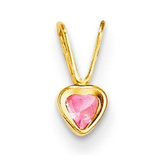 14k Yellow Gold Madi K Pink CZ Heart Pendant Jewelry