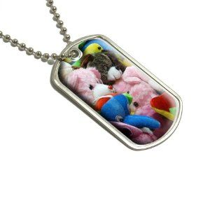 Stuffed Plush Animals Teddy Bear Toys Military Dog Tag Keychain   Automotive Key Chains