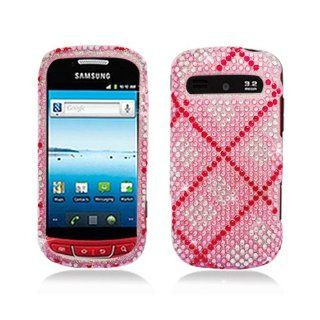 Pink Silver Plaid Bling Gem Jeweled Crystal Cover Case for Samsung Admire Vitality SCH R720 Cell Phones & Accessories