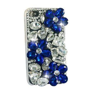 Handmade 3d Full Bling Daisy Blue Flowers Crystal Back Hard Case Cover for Iphone 4 4g 4s Cell Phones & Accessories