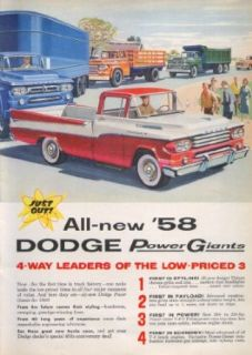 Dodge Power Giants 4 way Leaders Low Priced 3 ad 1958 Entertainment Collectibles