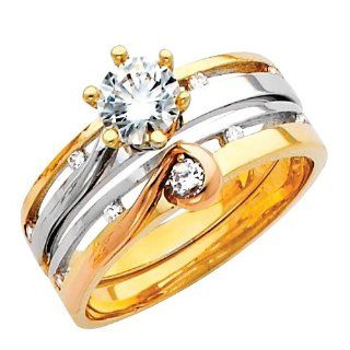 14K 3 Tri color Gold High Polish Finish Round cut Top Quality Shines CZ Cubic Ziconia Solitaire Ladies Engagement Ring and Wedding Band 2 Two Piece Set The World Jewelry Center Jewelry