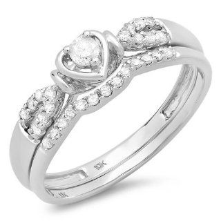 0.25 Carat (ctw) 10k White Gold Round Diamond Ladies Heart Shaped Bridal Engagement Ring Matching Band Set 1/4 CT Wedding Ring Sets Jewelry