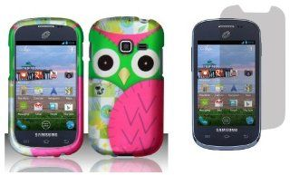 Samsung Galaxy Centura S738C   (Straight Talk, Net10, Tracfone)   Accessory Combo Kit   Hot Pink and Green Owl Design Shield Case + Atom LED Keychain Light + Screen Protector Cell Phones & Accessories