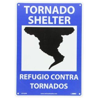 "NMC M742RB Bilingual Emergency and First Aid Sign, Legend ""TORNADO SHELTER"" with Graphic, 10"" Length x 14"" Height, Rigid Polystyrene Plastic, White/Black on Blue Industrial Warning Signs"