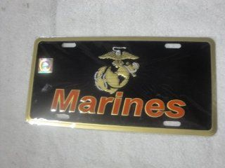 (Licensed) USMC Marines Marine Black and Gold License Plate Tag Automotive