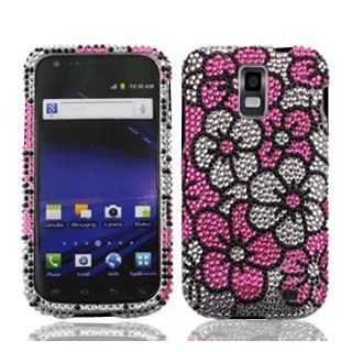 Samsung Galaxy S II S2 S 2 Skyrocket AT&T ATT i727 i 727 Cell Phone Full Crystals Diamonds Bling Protective Case Cover Silver and Pink Floral Flowers Design Cell Phones & Accessories