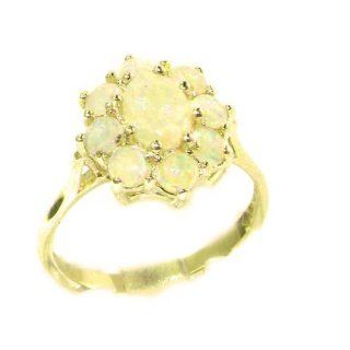 Luxury Ladies Solid 14K Yellow Gold Natural Opal Cluster Ring   Finger Sizes 5 to 12 Available   Perfect Gift for Birthday, Christmas, Valentines Day, Mothers Day, Mom, Mother, Grandmother, Daughter, Graduation, Bridesmaid. Jewelry