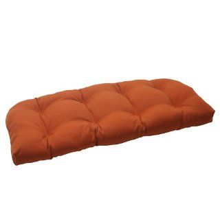 Pillow Perfect Indoor/Outdoor Cinnabar Wicker Loveseat Cushion, Burnt Orange   Patio Furniture Cushions