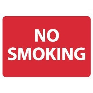 "NMC M759RB No Smoking Sign, Legend ""NO SMOKING"", 14"" Length x 10"" Height, Rigid Polystyrene Plastic, White on Red"