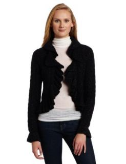 AK Anne Klein Women's Long Sleeve Ruffle Cardigan, Black, Medium Cardigan Sweaters