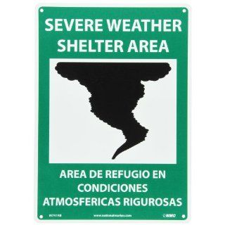 "NMC M741RB Bilingual Emergency and First Aid Sign, Legend ""SEVERE WEATHER SHELTER AREA"" with Graphic, 10"" Length x 14"" Height, Rigid Polystyrene Plastic, White/Black on Green Industrial Warning Signs"