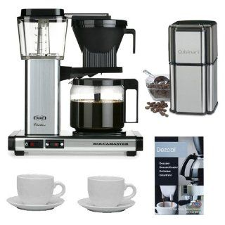 Technivorm Moccamaster KB 741 10 Cup Coffee Brewer Polished Silver + Cuisinart Grind Central Coffee Grinder + Update International 13 Oz White Tiara Cappuccino Cups + Coffee Descaler Drip Coffeemakers Kitchen & Dining