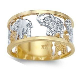 Animal Elephant Ring 14k White Yellow Gold Band Right Hand Rings Jewelry
