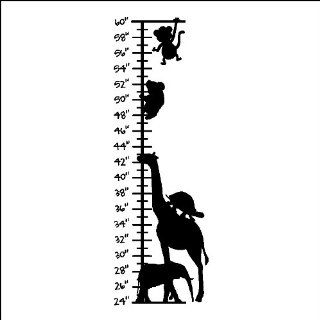 "Animal Growth Chart Wall Decal Sticker Removable Wall Art Choose Your Color (12"" X 37""), WHITE   Wall Decor"