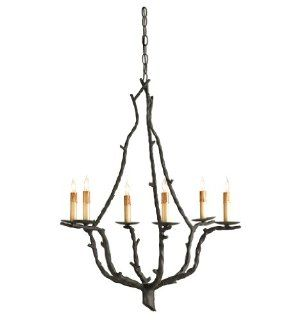 Currey and Company 9006 Soothsayer   Six Light Chandelier, Rustic Bronze Finish with Shade Option