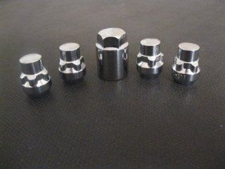 "Chrome Bulge Acorn Seat Wheel Locks (1/2""   20 Thread Size)   Set of 5"