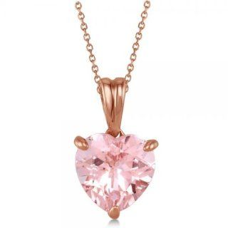 "Solitaire Pink Morganite Heart Pendant Necklace for Women with 18"" Rope Chain 14 Rose Gold 1.50tcw Jewelry"