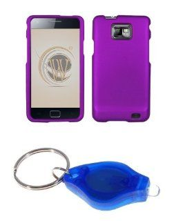 Premium Purple Rubberized Shield Hard Case Cover + Atom LED Keychain Light for Samsung Galaxy S II SGH I777 (AT&T) Cell Phones & Accessories