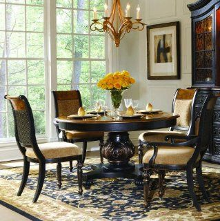 North Hampton Round Pedestal Dining Table by Hooker Furniture   Wood tone top, Black with Rub Through ba (779 75 201)