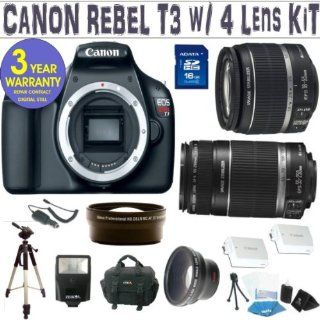 BRAND NEW CANON REBEL T3 (EOS 1100D) w/ CANON 18 55 IS LENS + CANON 55 250 IS LENS + .45X WIDE ANGLE LENS + 2X TELEPHOTO LENS + 16GB HIGH SPEED MEMORY CARD CLASS 10 + 3 YEAR CELLTIME WARRANTY  Digital Camera Accessory Kits  Camera & Photo