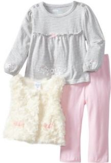 Vitamins Baby Baby Girls Infant Faux Fur Vest Set With Stripe Top Infant And Toddler Pants Clothing Sets Clothing