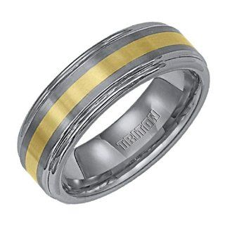 Triton 7mm Dual Finish Tungsten Carbide Ring with 18K Yellow Gold Inlay Jewelry