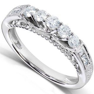 1/2 Carat TW Ladies Round Diamond Antique Style Wedding Band in 14k White Gold Jewelry